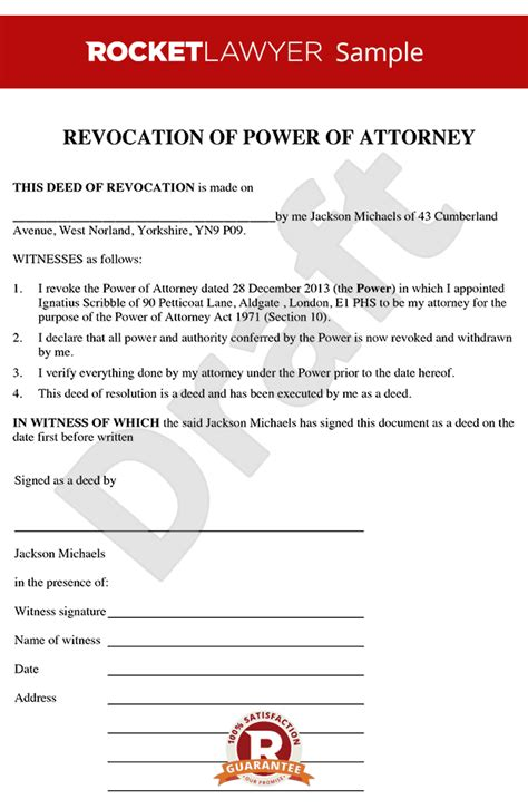 uk power of attorney template revocation of power of attorney create a deed of