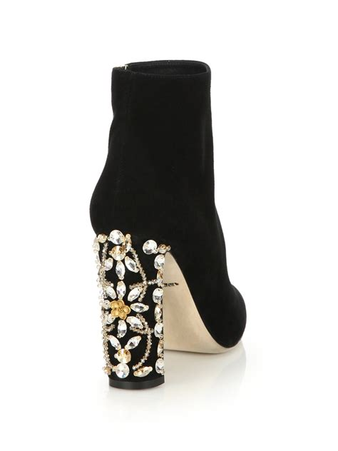 dolce and gabbana boots dolce gabbana suede embellished heel booties in black lyst