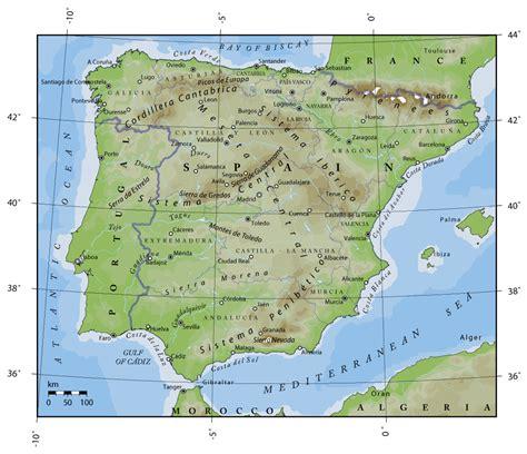 spain and portugal map spain physical map imsa kolese