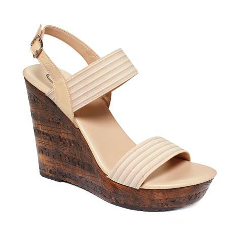 callisto shoes callisto platform wedge sandals in beige lyst