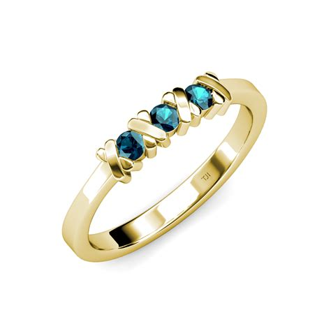 Blue Sapphire 14 30 Ct blue xoxo hugs and kisses 3 ring 0 30 ct tw