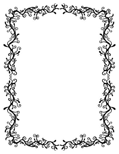 floral border in black and white clip domain