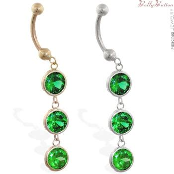 14k gold belly ring with 3 dangling emerald circle cz s