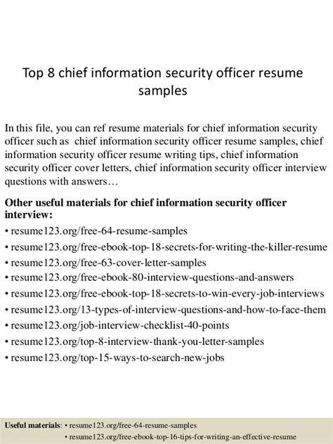 it security officer resume exle top 8 chief information security officer resume sles