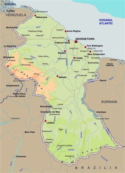 guyana south america map detailed elevation map of guyana with roads and cities