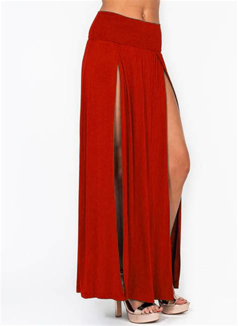 womens slit casual maxi skirt stretch opening