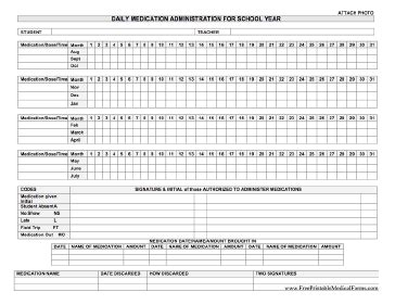 Printable Daily Medication Administration For School Year Medication Administration Record Template Free