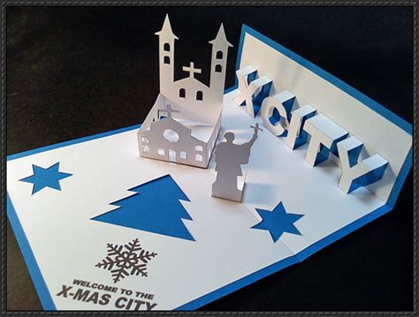 christmas papercraft christmas pop up card free template