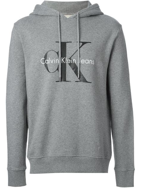 Sweater Logo Otaku Nazwa Cloth lyst calvin klein logo print hoodie in gray for