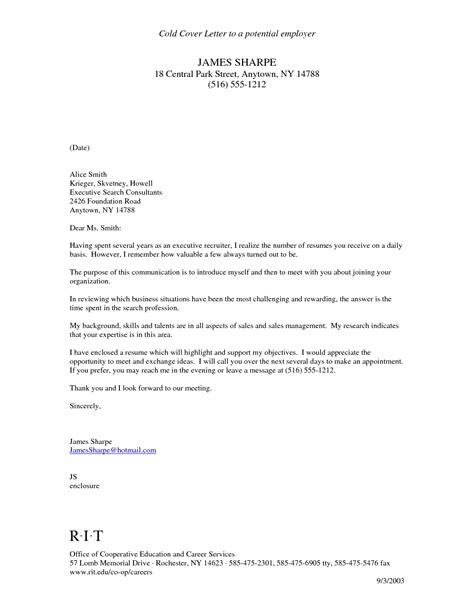 letter to potential employer the letter sle