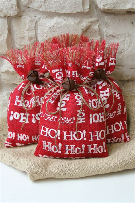 burlap gift bags shabby chic christmas wrapping by