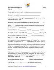 bill nye light and color bill nye light optics 4th 5th grade worksheet lesson