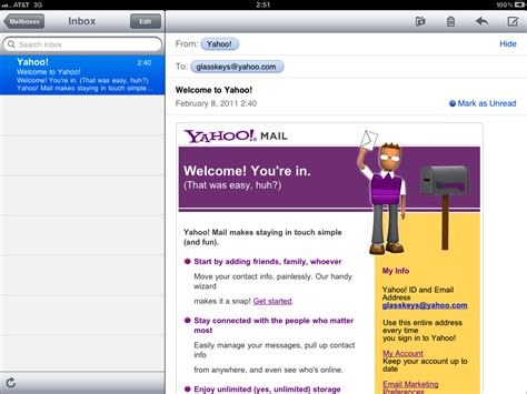 yahoo email on ipad how to setup email on the ipad glasskeys com