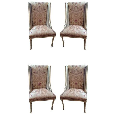 Painted Wooden Dining Chairs Four Sublimely Upholstered Painted And Carved Wooden Dining Chairs At 1stdibs