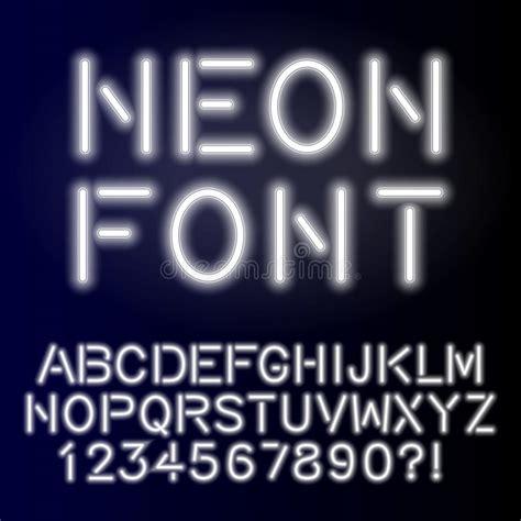 Handcrafted Font - neon glow alphabet custom handcrafted font stock vector