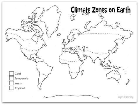 Climate Map Coloring Page | climate layers of learning