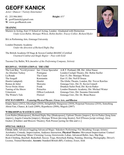 resume format for actors resume for actors best template collection