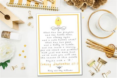 Wedding Announcement Rhymes by Pregnancy Announcements Yellow Baby Riddle Poem Pregnancy