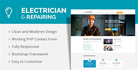Electrician Repairing Html Template Themekeeper Com Electrician Website Template
