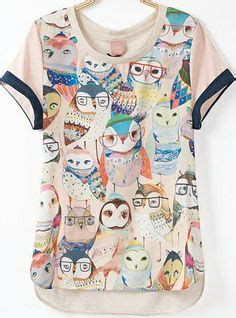 Owl Blouse Tunik Wolfish Printing want on forever21 boat neck and sleeves
