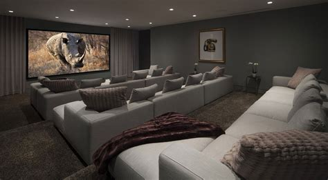 couch cinema contemporary spacious home cinema room with grey comfy