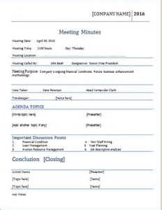 Recording Minutes Template by Meeting Minutes Template For Ms Word Word Document Templates