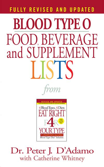 type o supplements blood type o food beverage and supplement lists by dr