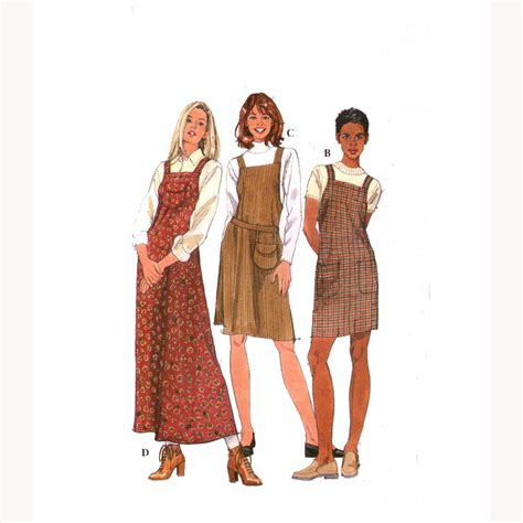 simple pattern pinafore dress easy to sew jumper dress sewing pattern simplicity 8243 sz 10