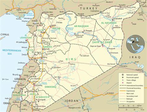 syria on map syria map damascus asia