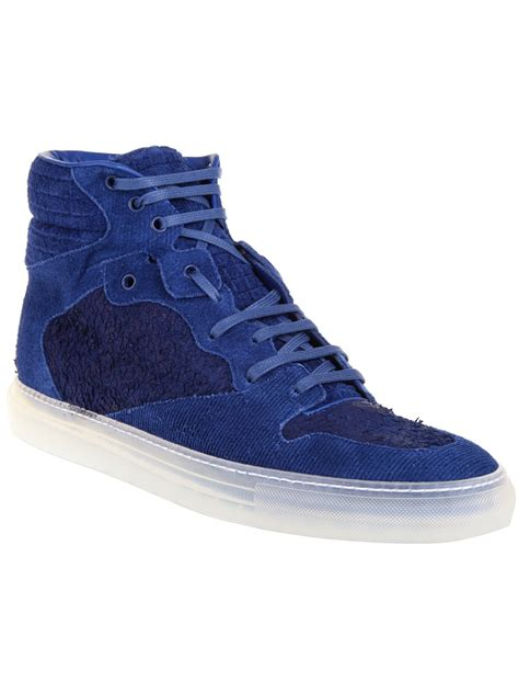 balenciaga blue sneakers balenciaga corduroy hitop sneakers in blue for lyst