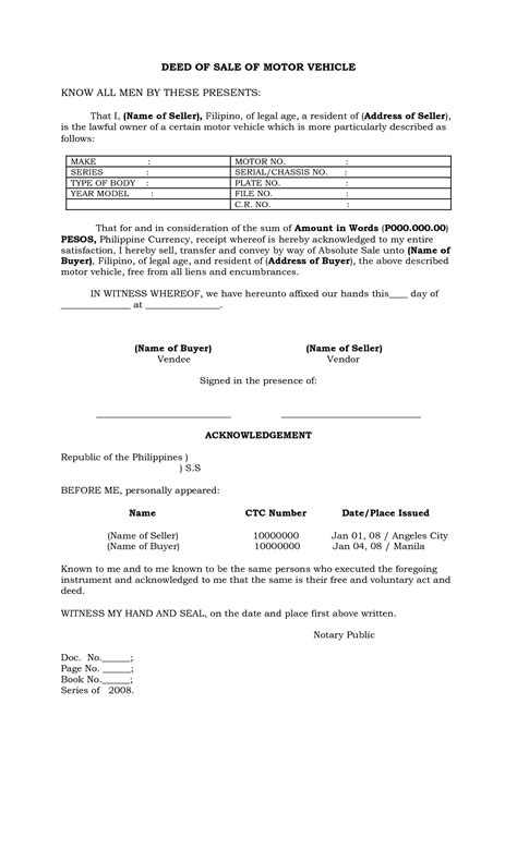 deed of sale template philippines deed of sale of motor vehicle by batotoyako
