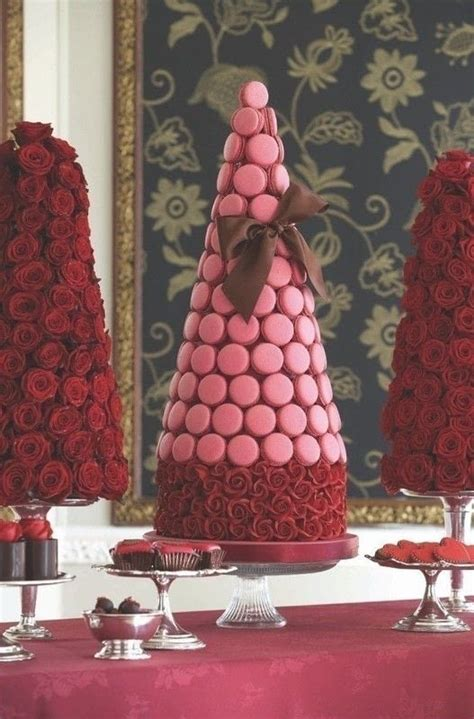 passion pink macaroon tower extract   cake