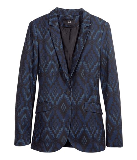 blue patterned blazer h m jersey blazer in blue dark blue patterned lyst