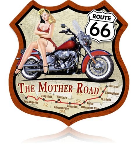 home decor vintage pin up girl arabic numerals round wall route 66 bike pinup vintage metal sign
