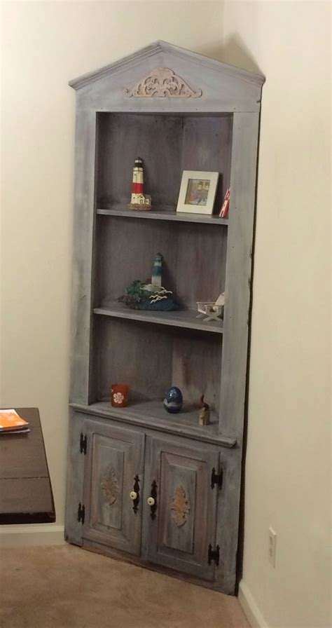 white corner curio cabinet corner curio cabinet that i redid with a new stain an