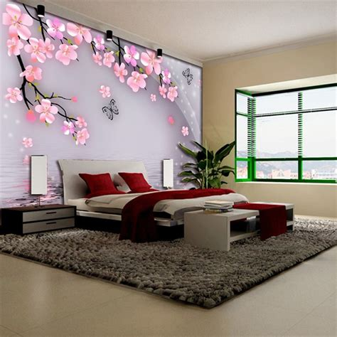 elegant butterfly peach blossom romantic floral wallpaper mural rolls hotel living room cafe