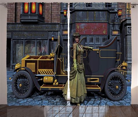 vintage cer curtains lady with victorian style dress and vintage car in street