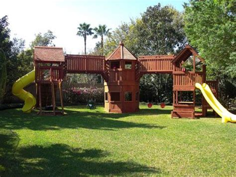 swing set with bridge smaller 2 towers walk across bridge 3 swings no slide