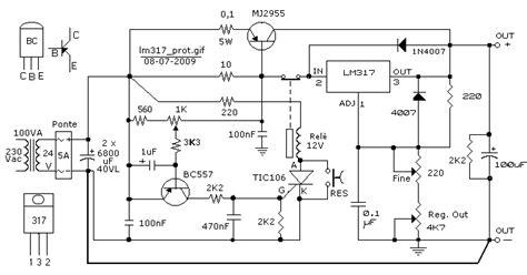schema elettrico alimentatore stabilizzato alimentatore stabilizzato con lm317 mj2955