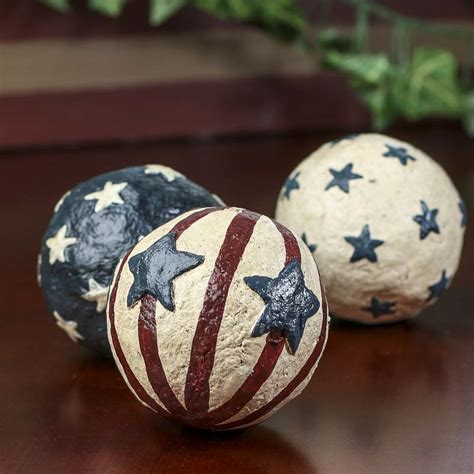set of americana decorative balls fillers vase and