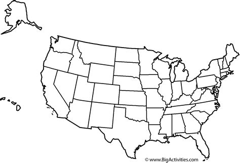 printable coloring page usa map of the united states with theme and states coloring