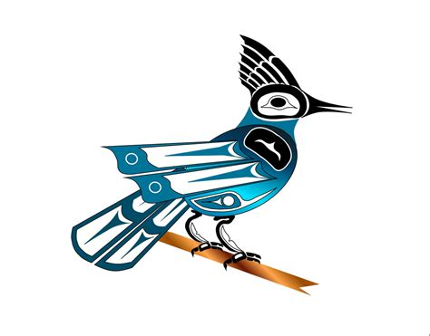 stellar jay haida point nw style art drawn on the