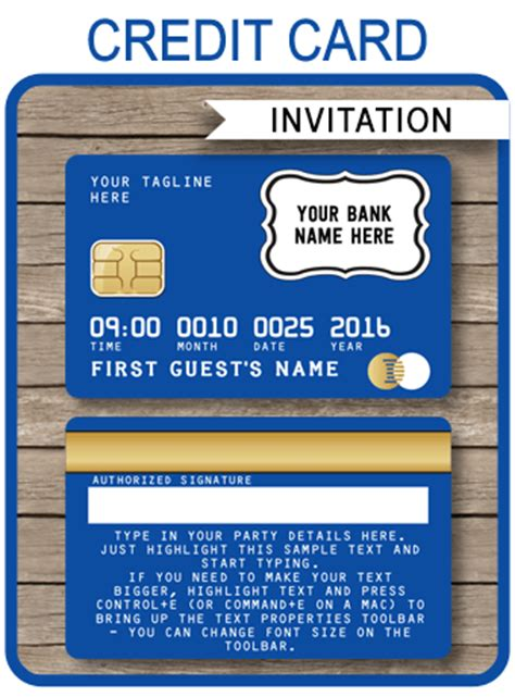 Credit Card Invitation Template Free Blue Credit Card Invitations Mall Scavenger Hunt Invitations
