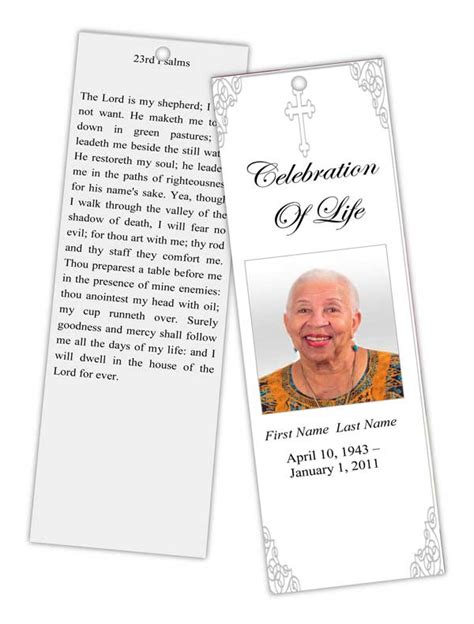 memorial bookmarks template free funeral program templates memorial bookmark grey