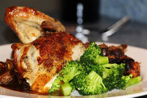 chicken for a dinner file roasted chicken dinner plate broccoli demi glace