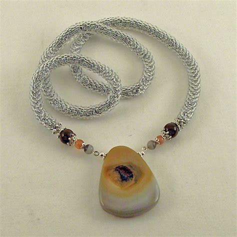 crochet bead necklace bead crochet crocheted bead rope necklace agate druzy