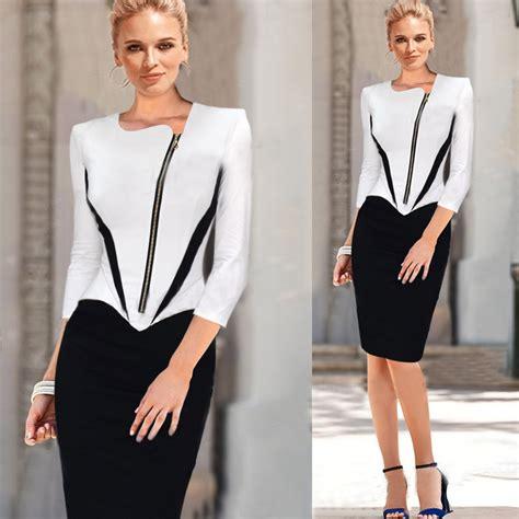 2018 ladies elegant long sleeve black and white dress