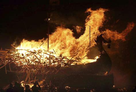 viking longboat on fire up helly aa viking festival in shetland islands