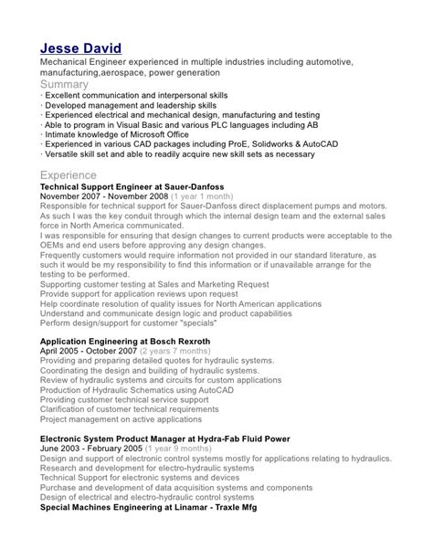 resume format for experienced mechanical engineer india david mechanical engineer resume