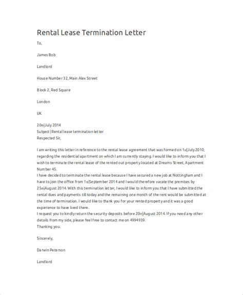 Lease Cancellation Notice Letter Sle Termination Letter 9 Exles In Word Pdf